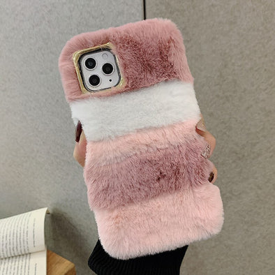 owlcase Luxury Colorful Rabbit Hair Fur Winter Warm  iphone Cases