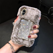 owlcase Diamond Fluffy Rabbit Hair Fur iphone cases