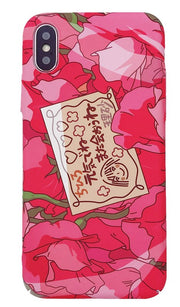 Red with the same style girls pink flowers for iphone mobile phone shell