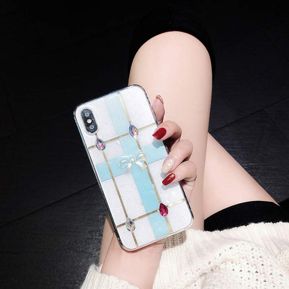Glitter Girl  Luxury Clear Crystal Bow Diamond Cover cases