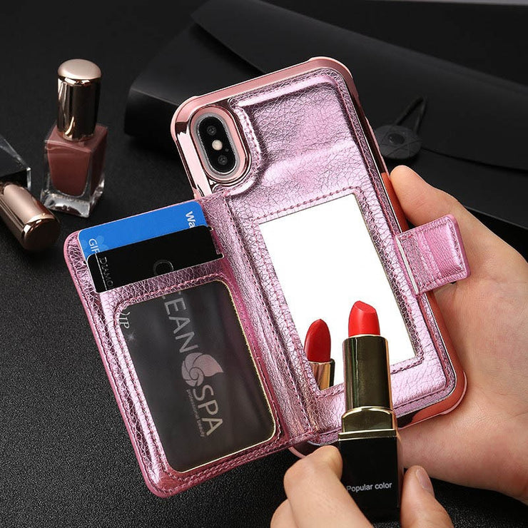 Mirror Leather Wallet Flip Phone Case