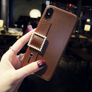 owlcase Luxury Leather Wrist Strap iPhone Cases