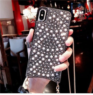 Luxury Fashion Handbag Design Pearl Diamond iPhone Cases