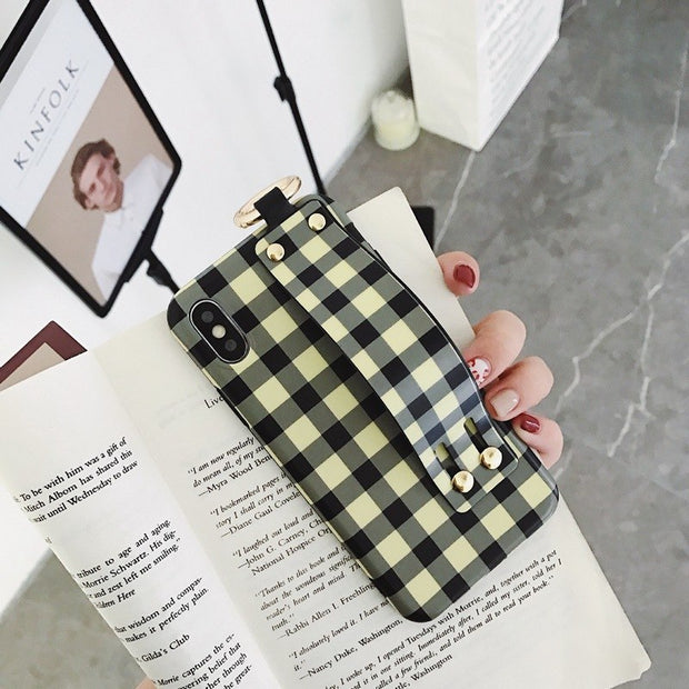 owlcase Retro Plaid Wrist Strap iPhone Cases
