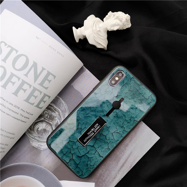 Finger Ring Fashion Marble Tempered iPhone Cases