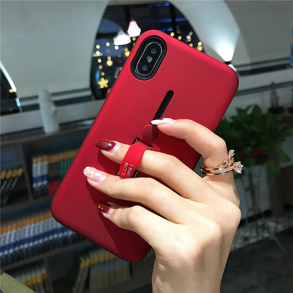Simple Solid Color Silicon Ring iPhone Cases
