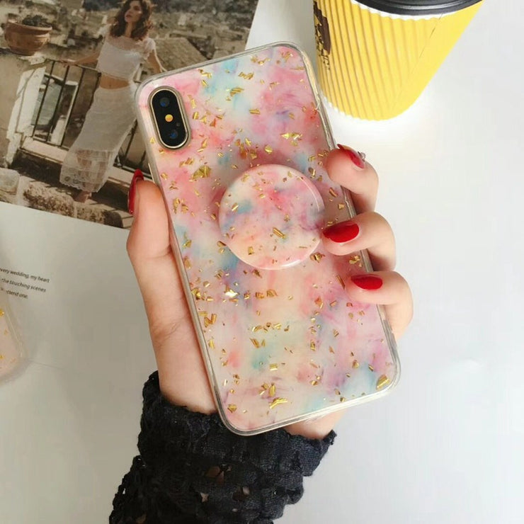 Foil Marble Bling Stand Holder iPhone Cases
