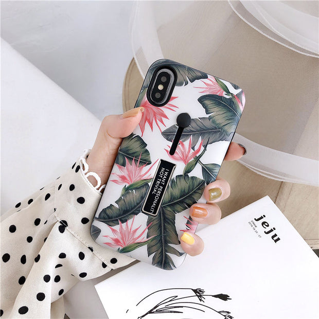 Flower Leaves Hide Ring iPhone Cases