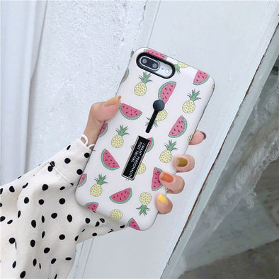 Cute Fruit Hide Ring iPhone Cases