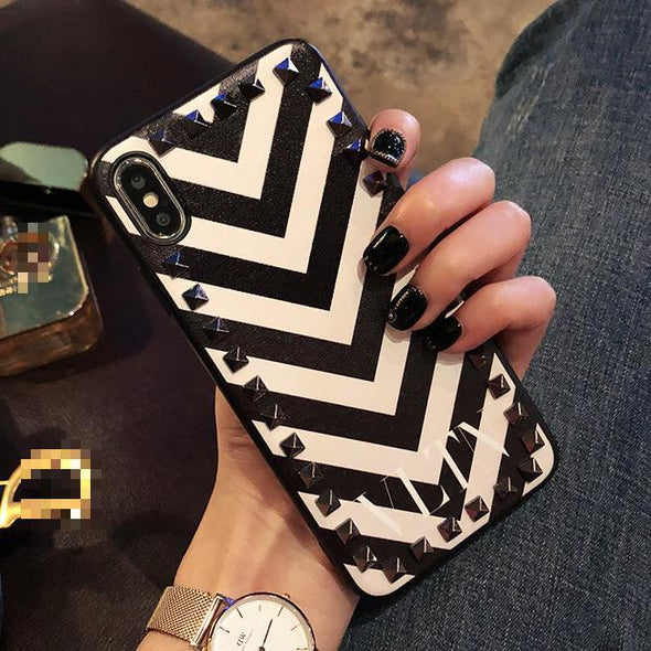Fashion Personality Stripe Rivet iPhone Cases