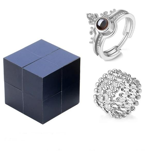 (Free Shipping) Creative S925 Silver Ring and Rubik's Jewelry Box