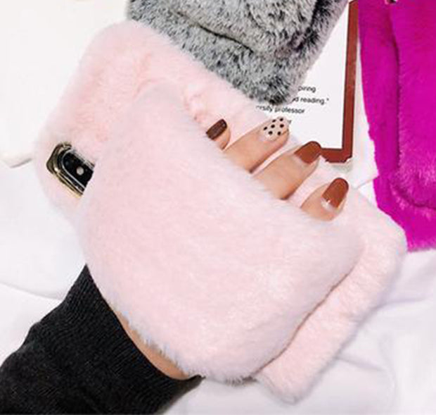 Warm Stand Winter Fur Phone Cover