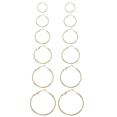 Mixed Sized Design Hoop Earring Set 6pairs