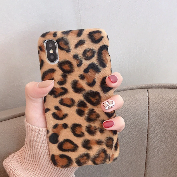 Leopard print hairy Plush fur phone Case