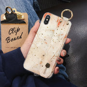 Marble Gold Foil Wrist Strap iPhone Case