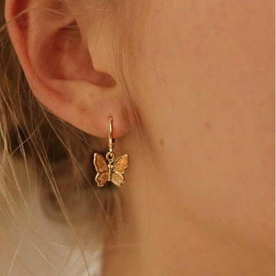 Round Decor Butterfly Drop Earrings