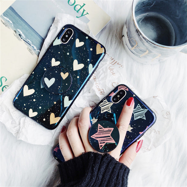 Luxury Heart Star Stand Holder iPhone Cases