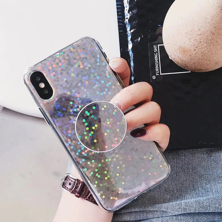 Gradient Air Bag Bracket Laser Glitter Flash iPhone Case