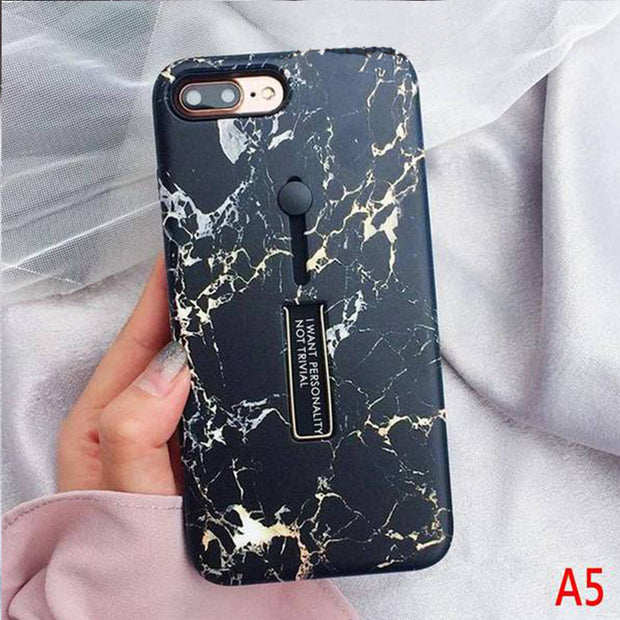Fashion Marble Silicon Hide Ring Stand Holder Case
