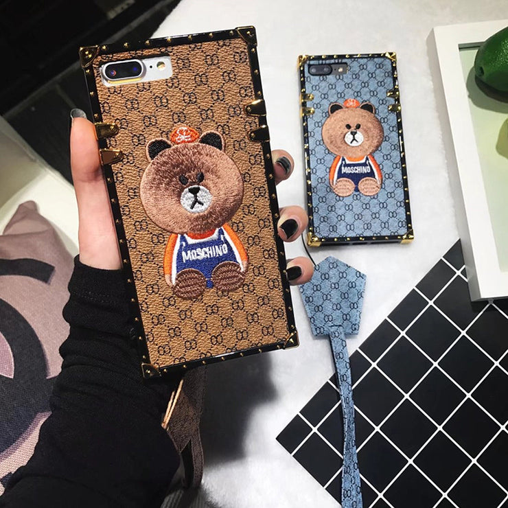 Luxury Embroidery Panda Pattern iPhone Cases