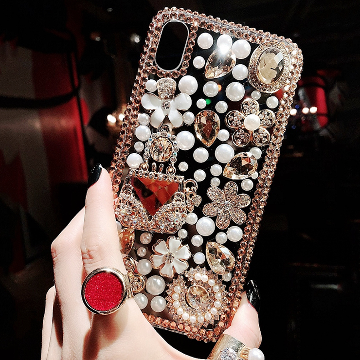 Owlcase Bling Crystal Diamond Handbag Flower Iphone cases