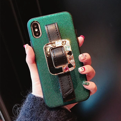 Owlcase Luxury Diamond Jewelry Leather Bracket iPhone case