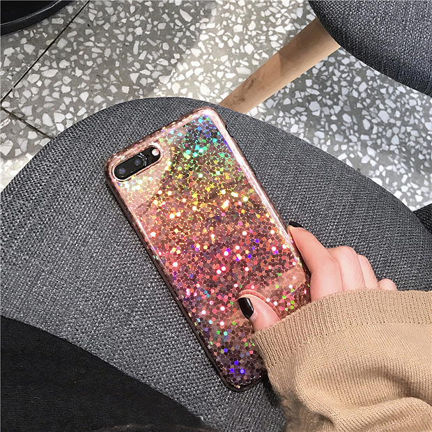 Laser Pink Colorful Flash Light  Phone Cases  for iPhone X 7 8 Plus  6 6S Plus