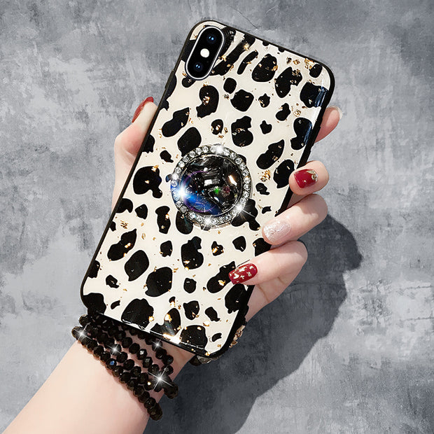 Gold Foil Leopard Socket iPhone Cases(With Stand)