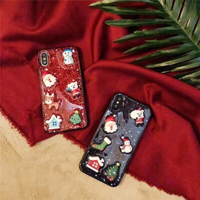 owlcase Cartoon Christmas Deer & Snowman Back Cover Gift iphone cases