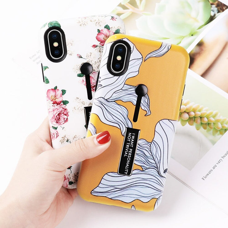 OWLCASE Fashion Floral Hide Ring iPhone Cases