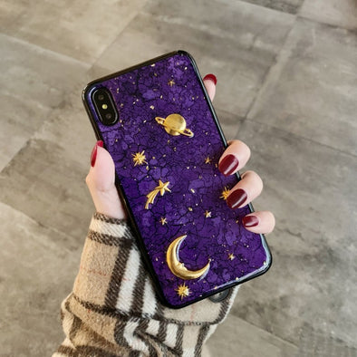 Marble Stars Gold Foil iPhone Cases