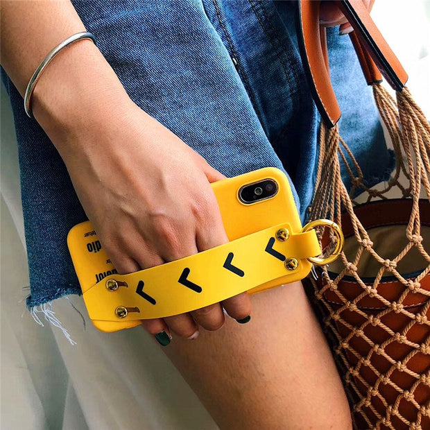 Fashion Yellow Wrist Strap iPhone Cases