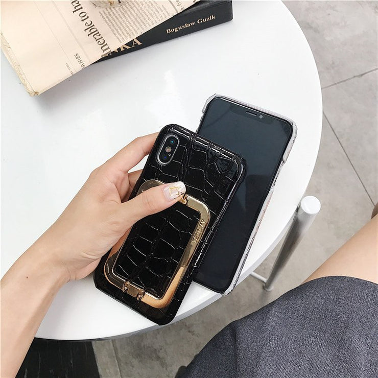 Luxury Hard Grainy Stand Holder Case