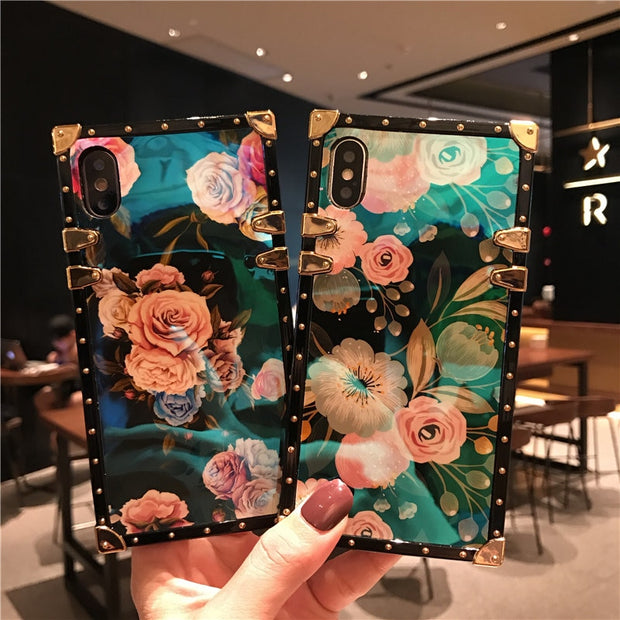 Floral Blue Ray Square Rivet iPhone Cases(with popstand)
