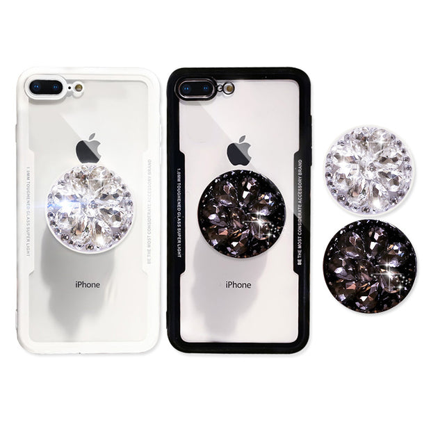 3D Luxury Transparent Rhinestone Stand iPhone Case