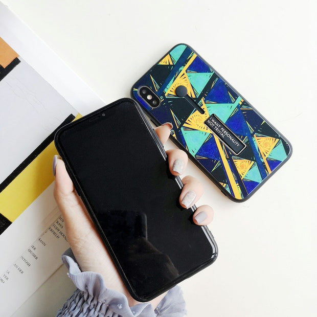 Abstract Geometric Glass iPhone Cases