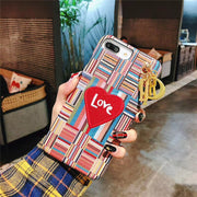 Colorful Embroidery Heart  iPhone Cases