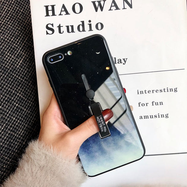 Fashion Starry Marble Hide Ring iPhone Case