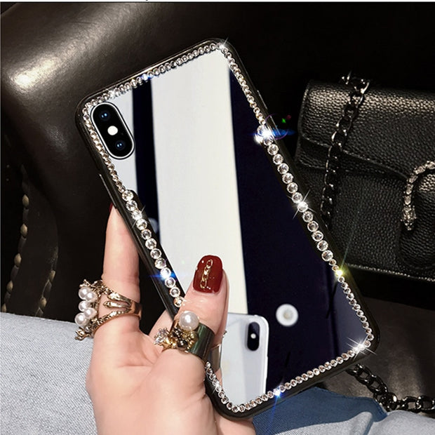 Net Hot New Mirror Rhinestone Makeup Female Case