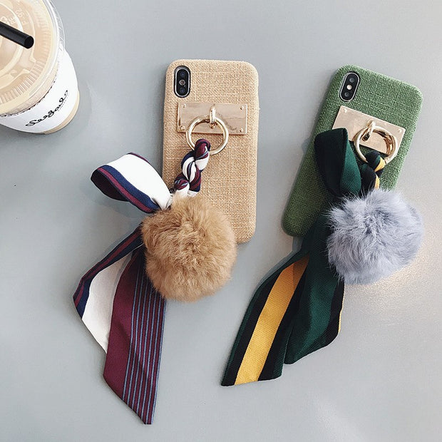 Winter Warm Bowknot Fur ball Case