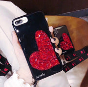 Luxury Rhinestone Heart Rope iPhone Case