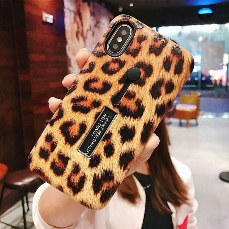 Leopard Print Hide Ring Stand Holder iPhone Cases