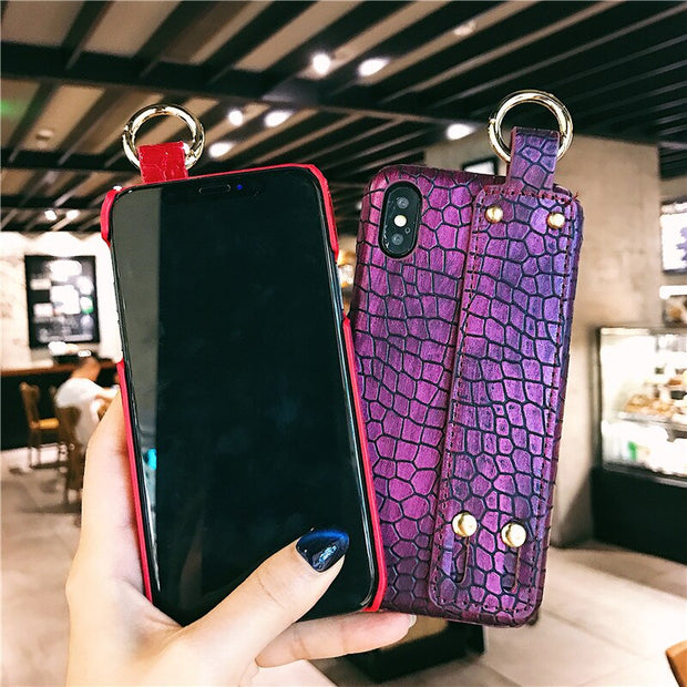 High Quality Leather Wrist Strap iPhone Cases