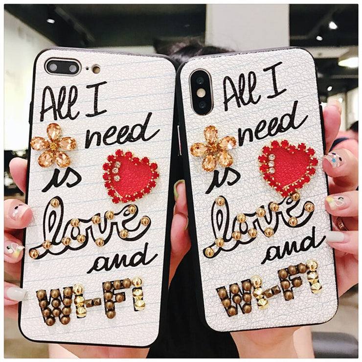 Luxury diamond letter i need love and wifi white leather  phone case