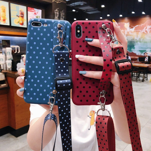 OWLCASE Fashion Polka Dot Wrist Strap iPhone Cases