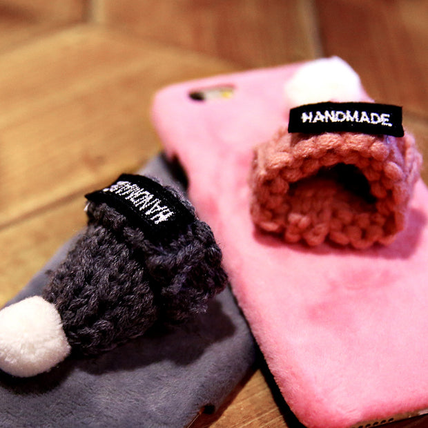 Plush Knitted Hairy Hat Cases