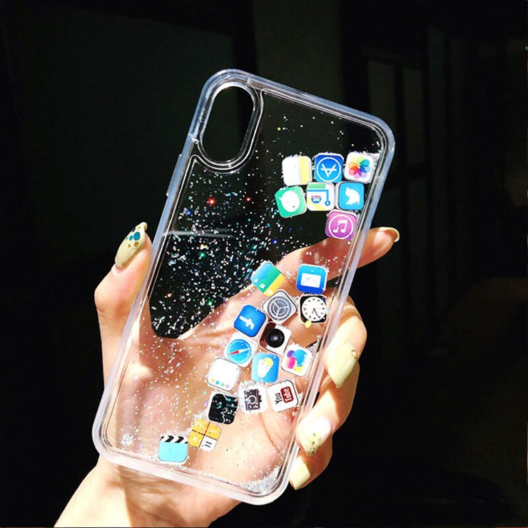 Funny Apps Icon Glitter Stars Phone Case