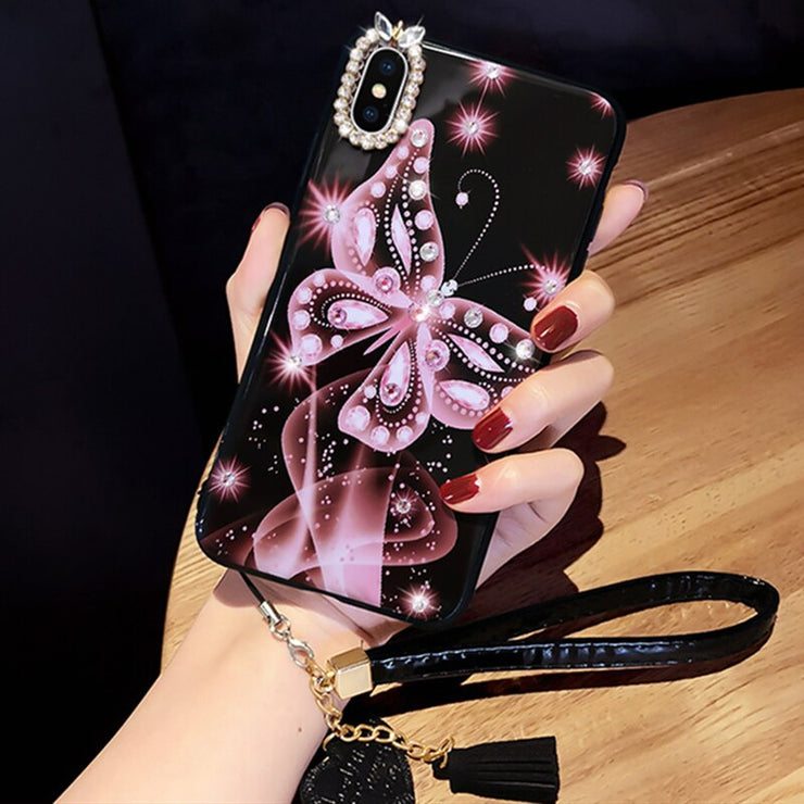 Cover Butterfly Diamond White Red Pink Phone Case