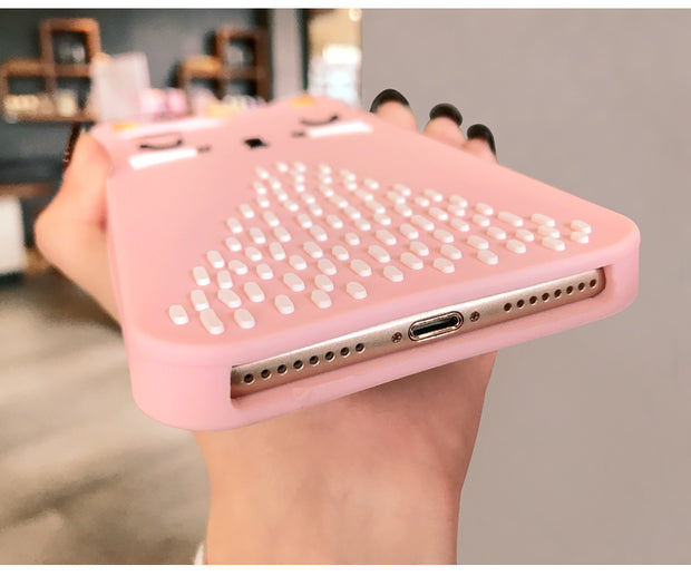 3D Bling Fashion Cartoon Pink Cat iPhone Case