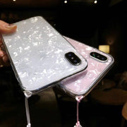 Cute Transparent Shell Diamond iPhone Case